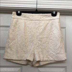 """Cream """"laced"""" Textured High Waisted Shorts"""